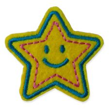YELLOW BLUE SMILEY STAR MOTIF IRON ON EMBROIDERED PATCH APPLIQUE